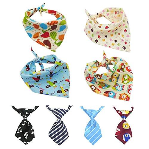 4 Stück Hund Bandana Dreieck Lätzchen Helle farbige Schals & 4 Stück verstellbare Hund Krawatte Kragen Hunde Katzen Welpen Krawatte Krawatte (Schals+ (Farbige Kostüme Helle)