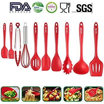 Silicone Kitchen Utensils 10 Sets, High Quality Heat Resistant Non Stick  Easy To Clean