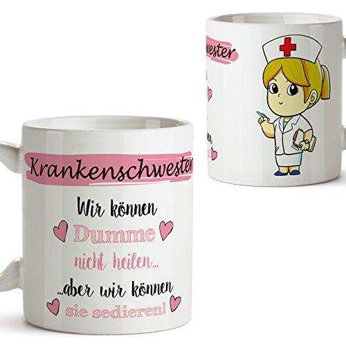 Mugffins Original Kaffeetasse als Geschenk für Krankenschwester - Wir können Dumme Nicht heilen Aber wir können sie sedieren! - 350 ml - Schöne und lustige Tassen mit Sprüchen, zu verschenken