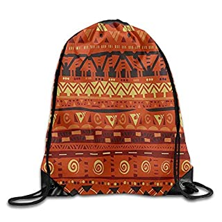 Antique African Folkloric Motifs with Primitive Tribal Art Ornaments Drawstring Gym Sack Sport Bag for Men and Women
