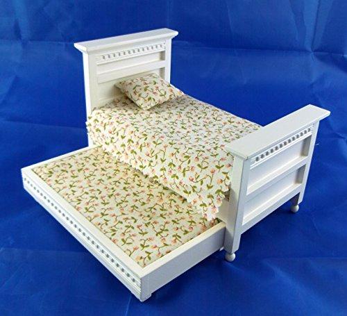 Puppenhaus Miniatur 1:12 Schlafzimmer Möbel Weißes Holz Einzel Trundle Gast Bett