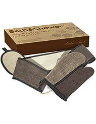 Wellness Bade-Set einschliesslich Luffaschwamm mit Rückengurt, Flax und Frottee Peeling-Handschuh und Luffa Pad als Geschenkbox die ideale Weihnachts-Geschenkidee für Männer und Frauen.
