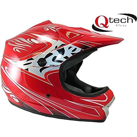 Casco protector para niños - Para motocross / todoterreno - Rojo - M (55-56 cm)