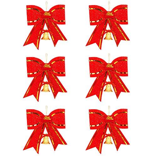ITemer 6 Piezas Decoración navideña Lazo Rojo Árbol