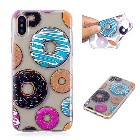Cover iPhone X, Voguecase Custodia Silicone Morbido Flessibile TPU Transparent Custodia Case Cover Protettivo Skin Caso Per Apple iPhone X(fiore Skull 12) Con Stilo Penna Donuts