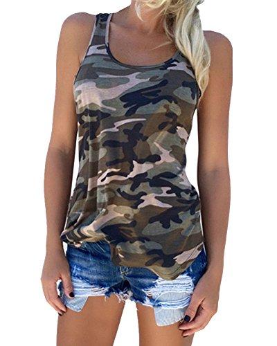 Guiran Mujer Camuflaje Camisetas Tirantes Sin Mangas Camisas Blusas Vintage T Shirt Tops Verde L