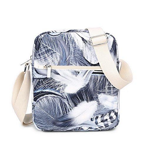 Acmebon Zaino leggero e impermeabile-Zaino scuola stampato alla moda per ragazzi e ragazze-Set 3 Pezzi Piuma Grigia 622