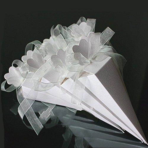 iShine 50 Pz Portariso Portaconfetti incluso Nastri Cono Coni con Nastrino Bianca a Rilievo per Matrimonio Festa Natale