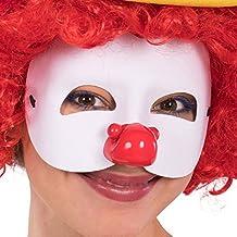 Carnival Toys 1703 Máscara con nariz payaso, blanco, talla única