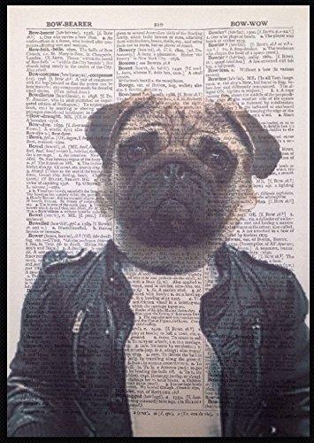 Imprimir Vintage Diccionario Página Arte de la pared imagen de perro carlino Animal con una chaqueta de cuero