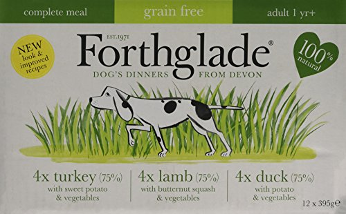 Forthglade-100-Natural-Grain-Free-Complete-Meal-Meat-Selection-Dog-Pet-Food-Multi-Pack-395g-12-Pack