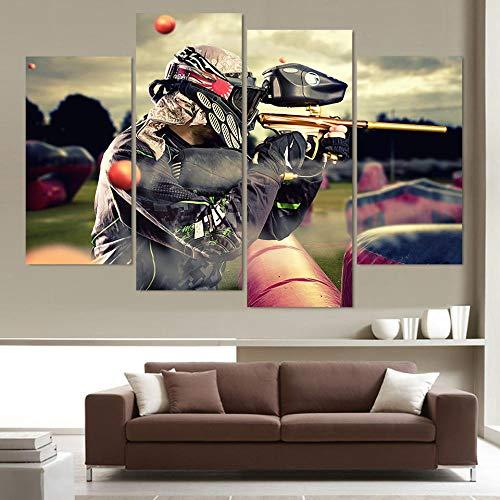 LOVELYJ Leinwanddrucke 4 Panel Paintball Schießen Dekorative Bilder Für Wohnzimmer Schlafzimmer Drucke Leinwand Malerei Wohnzimmer Poster-Rahmenlos