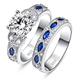 JQUEEN 3.5ct Round Cubic Zirconia Marquise Created Blue Sapphire 925 Sterling Silver Engagement Ring Set