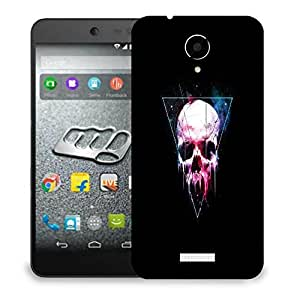 Snoogg Triangle Skull Designer Protective Back Case Cover For MICROMAX Q416