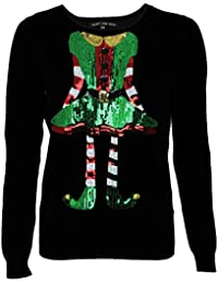 Womens Ladies Christmas Elf Sequins Xmas Novelty Jumper Top By Heart & Soul