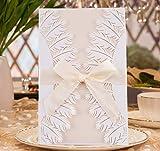 QILICZ Hochzeit EinladungsKarten Glückwunsch Einladung Karten, 20 Stück Elegante Blume Spitze 4 in 1 [ Hohle Hülse + Leere Karte + Umschlag + Bowknot ] Hochzeitskarten - auch Für Geburtstag/Taufe