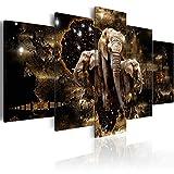 murando - Bilder 200x100 cm - Vlies Leinwandbild - 5 Teilig - Kunstdruck - modern - Wandbilder XXL - Wanddekoration - Design - Wand Bild - Abstrakt Tiere Elefant Löwen Flusspfend Nilpfend g-A-0011-b-n
