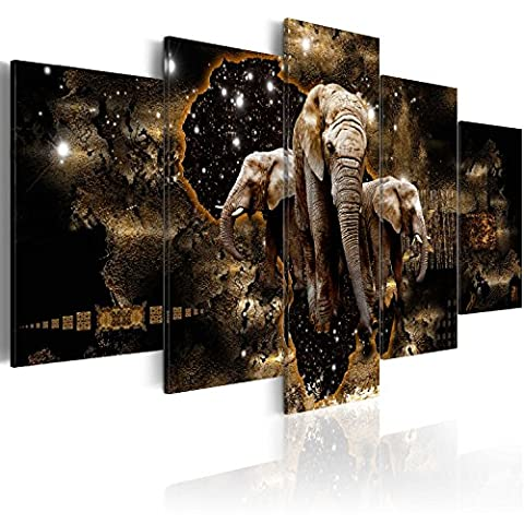 Image 200x100 cm (78,8 by 39,4 in) - 3 colours to choose - Image printed on canvas - wall art print - Picture - Photo - 5 pieces - 200x100 cm - abstract Animals elephant lion hippo g-A-0011-b-n