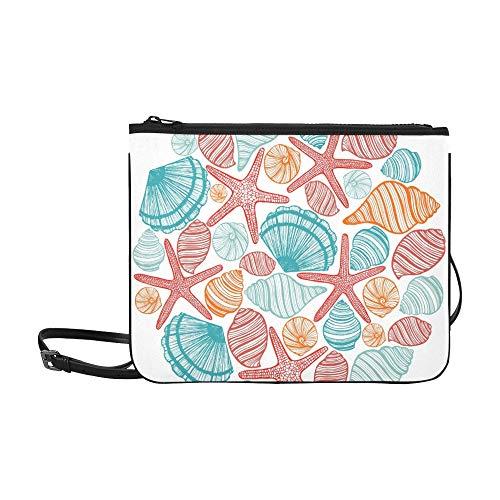 WYYWCY Runde farbige Zusammensetzung Muscheln Seesterne Meer Custom High-Grade Nylon Slim Clutch Bag Cross-Body Bag Umhängetasche