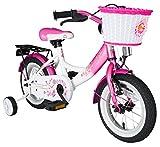 BIKESTAR® Premium Kinderfahrrad für sichere und sorgenfreie Spielfreude ab 3 Jahren ★ 12er Classic Edition ★ Flamingo Pink & Diamant Weiß