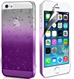 Zonewire® Brand APPLE IPHONE 5 5S PURPLE RAINDROP CRYSTAL HARD BACK CASE COVER + SCREEN PROTECTOR & CLEANING CLOTH