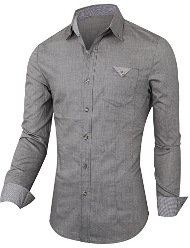HRYfashion - Chemise casual - Col À Boutons - Manches Longues - Homme Holzkohle