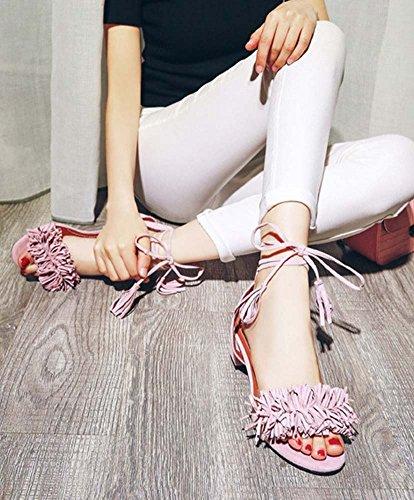 L&Y Donna pompa per cinturoni in pelle 2017 Sandali romani di fascino medievale di nuova camoscio Rosa