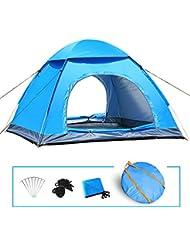 LIVEHITOP Tienda Automatica de Campaña Playa 3 4 Personas, Grande Familiares Instantánea Pop Up Tiendas Impermeable Anti UV para Camping Playa Jardín 200x200x125cm / 78.7''x78.7''x53'' (Azul)