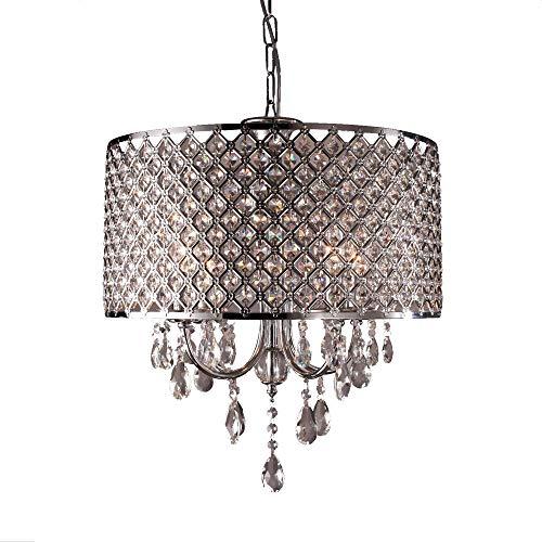 UISEBRT Kristall Lampenschirm Kronleuchter E14 - Moderne Hängelampe Deckenlampe Lüster Hängelampenschirm Wohnzimmerleuchte Schlafzimmerleuchte Küchenlicht (Keine Glühbirne enthalten)
