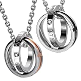 Urban-Jewelry Unique His & Hers Parejas Endless Love Eternal Love Anillos Colgante Collar 48,3 cm & 53.4 cm cadena