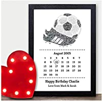 Personalised 6th, 8th, 9th, 10th, 13th, 16th, 18th, 21st, 30th Birthday Gifts for Boys, Men, Son, Grandson, Dad Footballer ANY Birthday Date Gifts - A5, A4, A3 Prints and Frames - 18mm Wooden Blocks