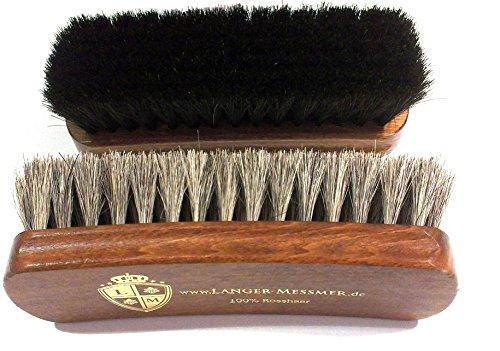 Langer & Messmer Schuhbürste aus hellem Rosshaar zum Polieren Ihrer Schuhe - Die Polierbürste für die professionelle Schuhpflege