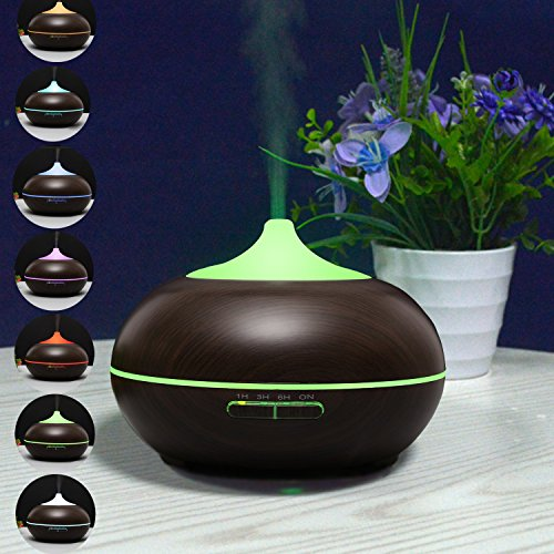 LANA-PURE-Aromatherapy-Aroma-Diffuser-Essential-oil-300ML-capacity-Ultrasonic-Humidifier-Air-Purifier-Cool-Mist-Humidifier-4-Timer-settings-and-7-Colour-LED-light-Dark-Wood-Grain