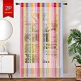 AIZESI 2 Stück Fadenvorhang Bunt 90x 200cm Insektenschutz Fadenstore Türvorhang Trennwand Fenster Vorhang Wohnzimmer Schlafzimmer(Regenbogen)