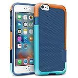 """iPhone 6 / 6s Funda – [Ultra Hybrid] HanLuckyStars Funda Carcasa Case TPU Matte Shell Exact Bumper Tope Shock Protección Gota Anti-Arañazos , Choque Absorción Borrar Espalda para Apple iPhone 6 / 6s 4.7"""" (Azul/Naranja)"""