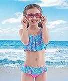 Maillots de Bain Deux Pièce Filles, 50+ UPF UV Protection Flamingo Bikini Enfant Plage été Sport - Flamingo - 5Ans
