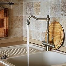 Blue Water platina 3Tres vías grifo inox ACERO INOXIDABLE maciza, de alta calidad Diseñador Cocina Grifo Para Lavabo monomando grifo mezclador bimando grifo de alta presión grifo cocina lavabo grifo mezclador para instalaciones ósmosis inversa Instalaciones Agua Potable filtro de agua VA salada