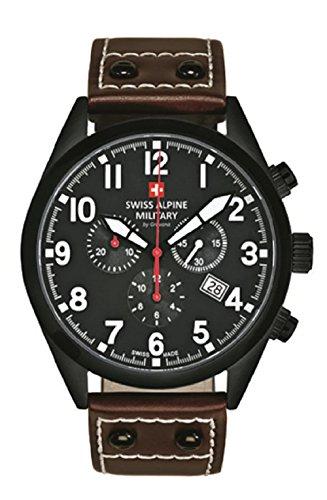 Swiss Alpine Military Leader Chrono 1293.9577sam Swiss Watch Men Chronograph PVD black dial strap leather Brown