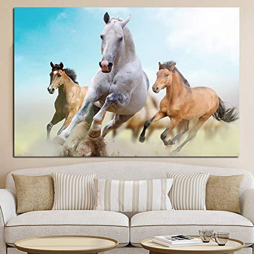 Sport pferderennen tier landschaftsmalerei auf leinwand wandkunst bild drucken und poster moderne dekoration (kein rahmen)