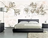 YUANLINGWEI Benutzerdefinierte Mural Tapete Einfache Botanische Blumenmuster Wohnen Zimmer Wand Dekoration Wandbild Tapete,270Cm (H) X 350Cm (W)