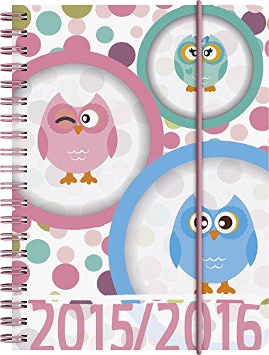 BRUNNEN Taschenkalender Schülerkalender, Kalendarium 2015/16, Eule PP, 1 Seite = 1 Tag, 120 x 160 mm, (107297216)