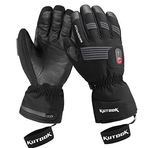 KUTOOK Guanti Riscaldati Invernali Antivento Impermeabile Touchscreen con Batteria Ricaricabile per Moto Snowboard e Sci e Ciclismo Sport Invernali (XL)