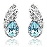 Eloquence - ''Water Drop'' - Womens Rhodium Plated Aquamarine Blue Crystal Earrings