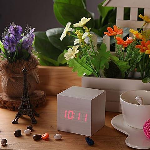 preadvisor (TM) USB DC6V activado escritorio mesa relojes despertador LED Digital Square Reloj de madera madera alarma temperatura pantalla sonido de voz