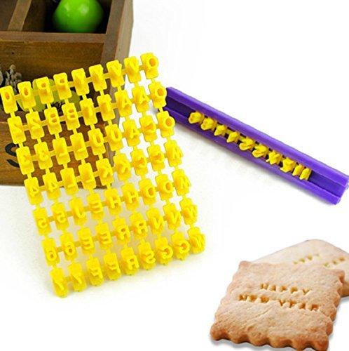 SwirlColor Set 72pcs Alphabet Anzahl & Brief Cookie-Keks-Stempel Embosser Cutter Fondant, Make DIY Werkzeug jede Nachricht Brief -