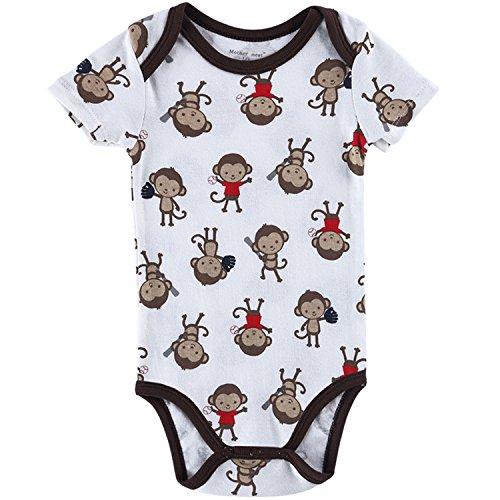 Mother Nest Unisex Baby Body Junge Kurzarm 100% Baumwolle mit Druckknöpfen Affen 15115 7-9 Monate