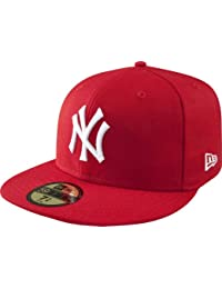 New Era MLB Basic NY Yankees 59 Fifty Fitted - Gorra para hombres, color rojo/ blanco (scarlet), talla 7 1/2 (59.6 cm)
