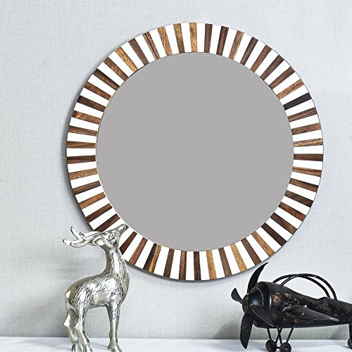 Casa D??cor Dime Right Straight Mirror Round Wooden Wall Hanging(Multicolour)
