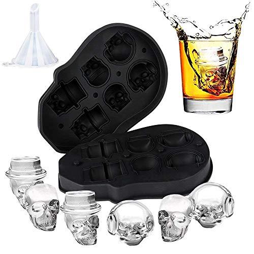 3D Skull Ice Mold, Easy Release und Fill Melt Slow Silicon Skull Ice Cube Tray, macht sechs lebendige Totenköpfe, cooler und lustiger Eisschädel, für Whisky, Cocktails mit Trichter Eis am Stiel formen