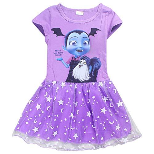Vannie Vampirina Mädchen Kleider Cartoon Cosplay Prinzessin Rock Kopfband Halloween Kostüme Schöne Tutu Pettiskirt für Mädchen von 3 bis 8 Jahren PL 110